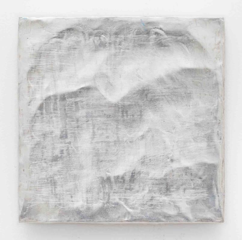 Lisa Patroni monochrome painting silver art - Winter Magic Bondi Pavilion 2019